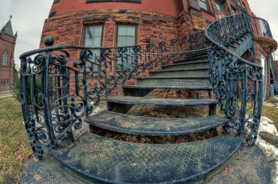 Ornate Stairs Nikon D5100, Rokinon 8mm f/3.5, {1/8, 1/30 & 1/125s bracket}, f/11, ISO 200