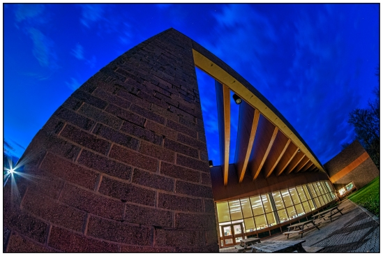Campus Center Nikon D5100, Rokinon 8mm f/3.5, {0.8, 1.6, 3, 6 & 13s bracket}, f/11, ISO 800